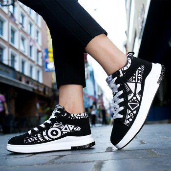 The New Couple Lovers Canvas Shoes - BLACK WHITE 38