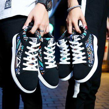 The New Couple Lovers Canvas Shoes - BLACK/GREEN 44