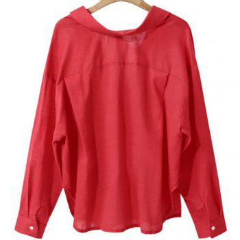 Loose Long Sleeved V Collar Women'S Pure Color Shirt - RED L
