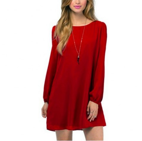 Sexy Deep V Chiffon Long Sleeved Dress - RED L