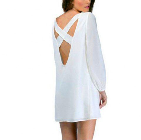 Sexy Deep V Chiffon Long Sleeved Dress - WHITE L
