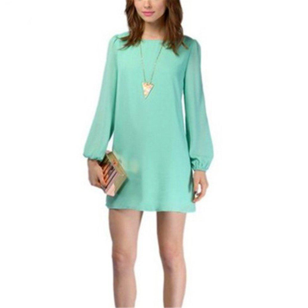 Sexy Deep V Chiffon Long Sleeved Dress - GREEN L