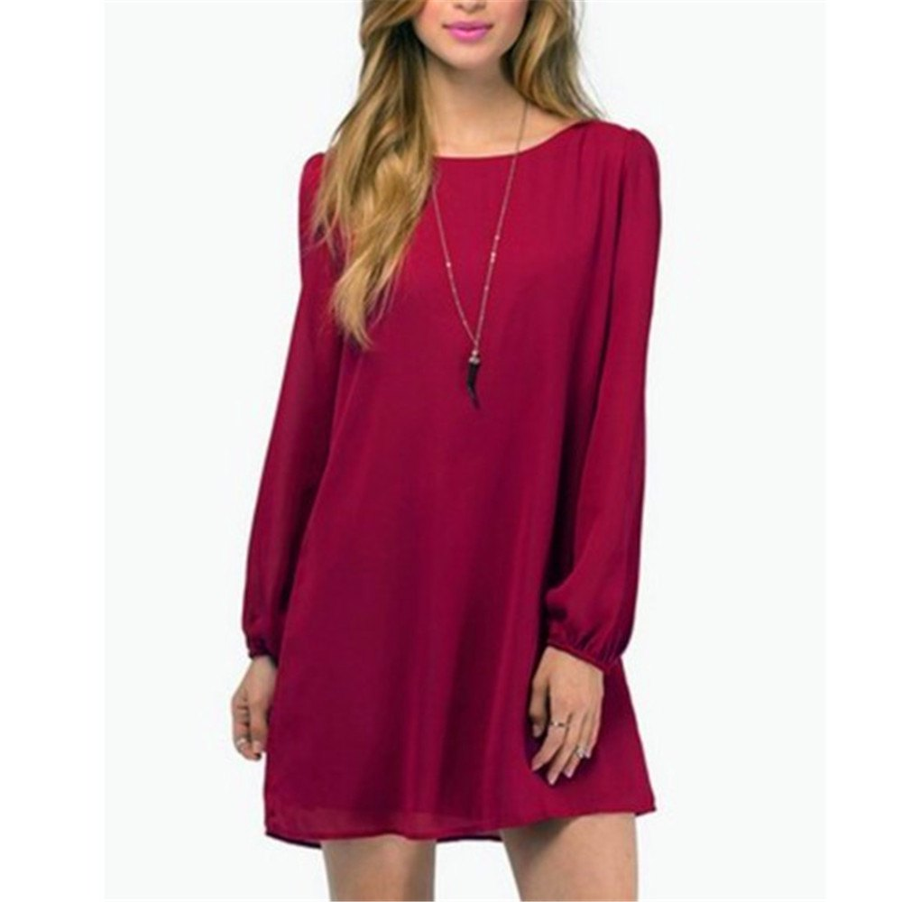 Sexy Deep V Chiffon Long Sleeved Dress - BURGUNDY L