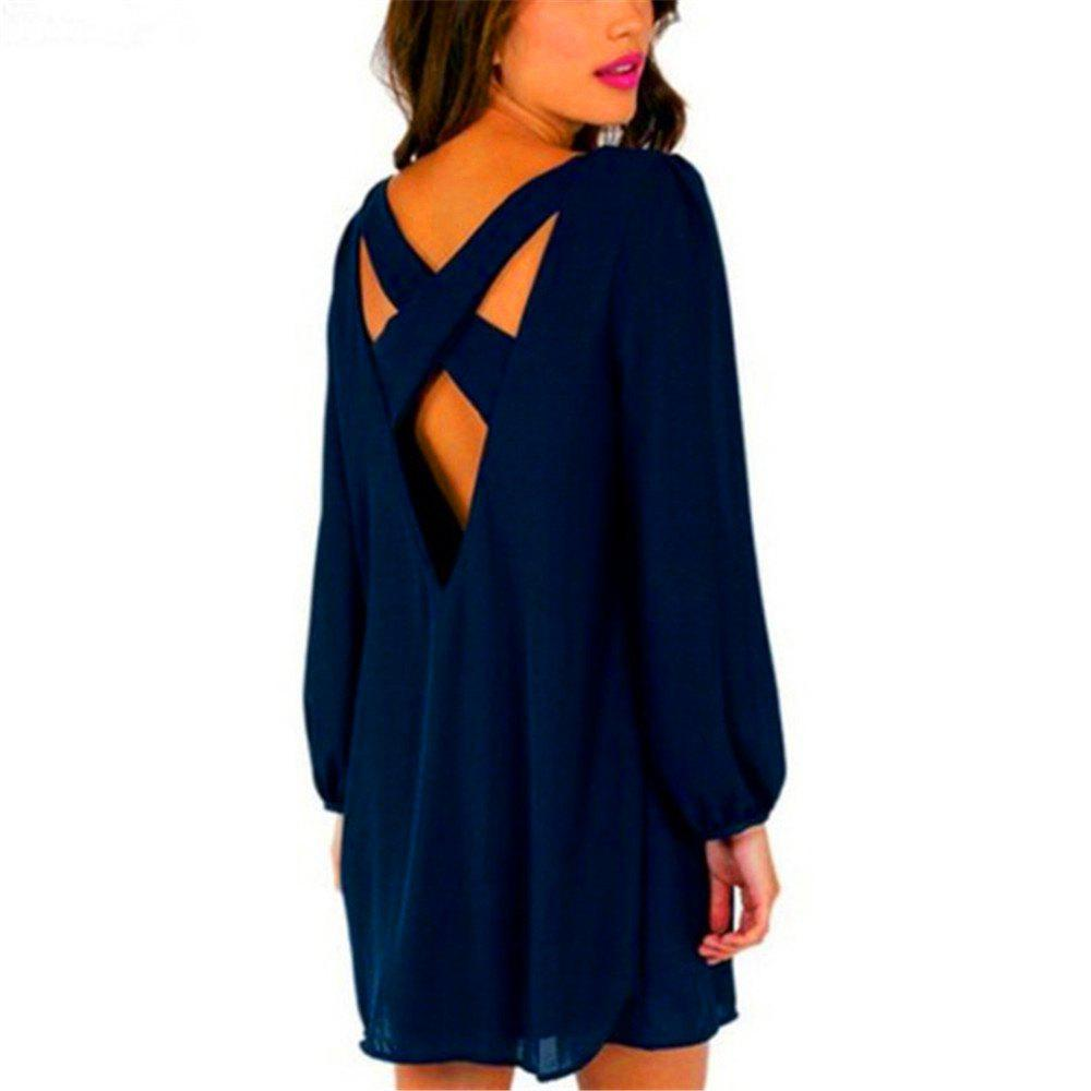 Sexy Deep V Chiffon Long Sleeved Dress - BLUE L