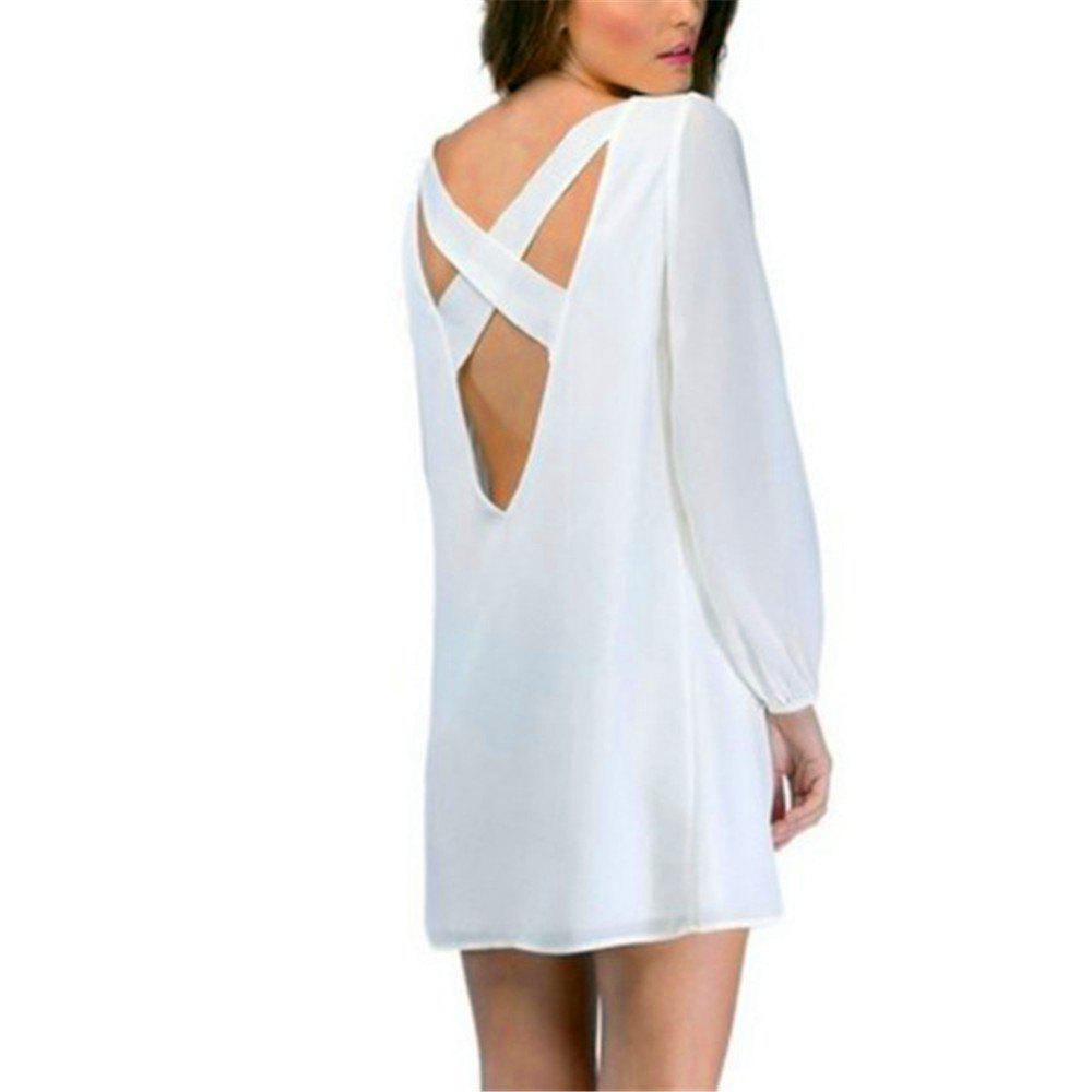 Sexy Deep V Chiffon Long Sleeved Dress - WHITE S