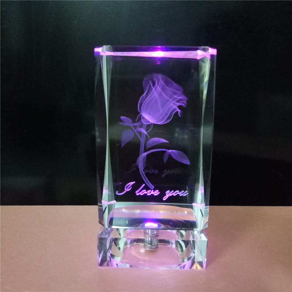 GodRays  G051001 - S01  LED Colorful 3D Cube Crystal Rose for Valentine`s Day Gift - COLORFUL 5 X 10 CM