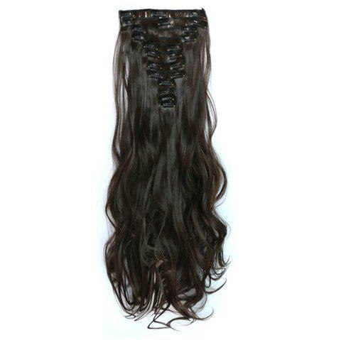 12 pcs/Set Women Fashion Hair Accessories Long Wavy Extension Synthetic Curls Wigs - DEEP BROWN