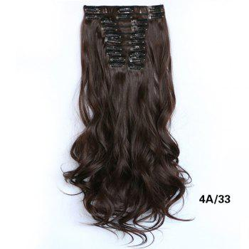 12 pcs/Set New Fashion Women Hair Accessories Long Wavy Extension Synthetic Curls Hair Wigs - DEEP BROWN