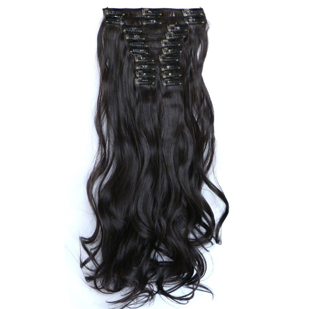 12 pcs/Set New Fashion Women Hair Accessories Long Wavy Extension Synthetic Curls Hair Wigs - BLACK