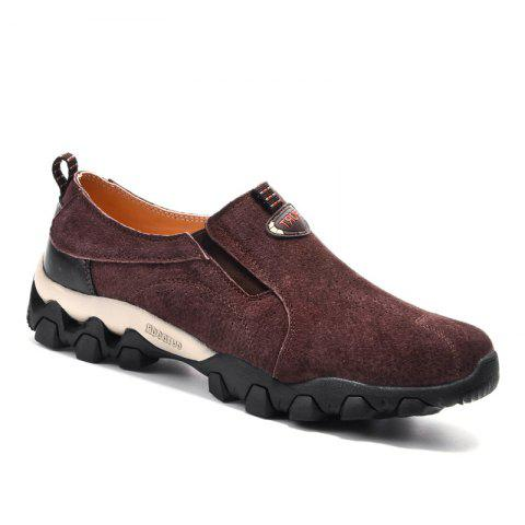 Men Casual Trend for Fashion Leather Flat Outdoor Shoes - WINE RED 43