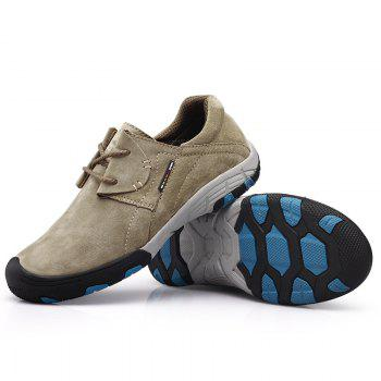 Men Casual Trend for Fashion Flat Lace Up Outdoor Leather Shoes - GRAY 43