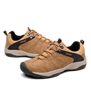 Men Casual Trend for Fashion Lace Up Flat Leather Outdoor Shoes - BROWN 40