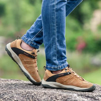 Men Casual Trend for Fashion Lace Up Flat Leather Outdoor Shoes - BROWN 38