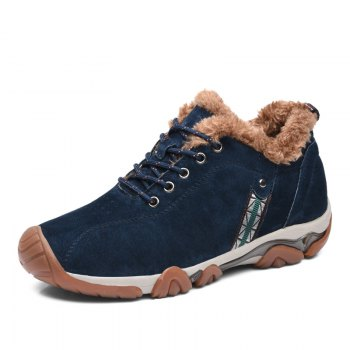 Men Casual Trend for Fashion Lace Up Outdoor Flat Leather Type Suede Shoes - BLUE 41