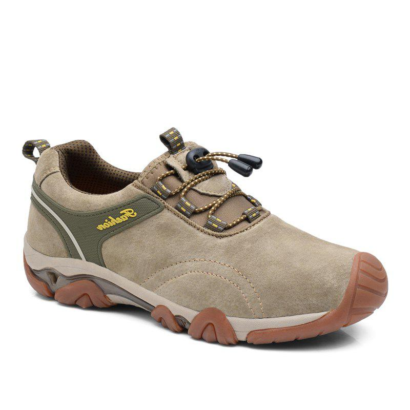 Men Casual Trend for Fashion Lace Up Outdoor Flat Type Leather Shoes - GRAY 44