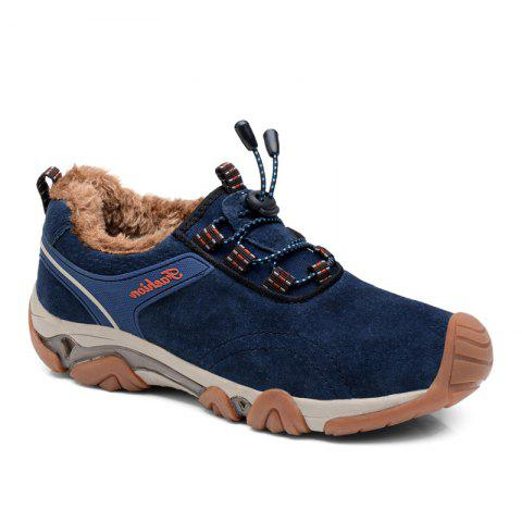 Men Casual Trend for Fashion Lace Up Outdoor Flat Type Leather Suede Shoes - BLUE 39