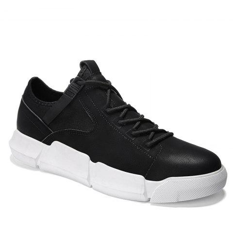 Men Casual Trend for Fashion Outdoor Hiking Flat Leather Winter Autumn Warm Shoes - BLACK WHITE 39