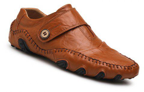 Men Casual Trend for Fashion Outdoor Hiking Flat Slip on Loafers Leather Shoes - LIGHT BROWN 42