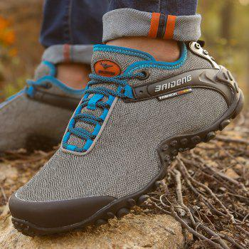 Men Casual Trend for Fashion Outdoor Hiking Flat Lace Up Breathable Flat Shoes - GRAY 44