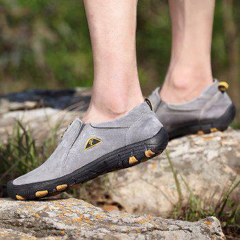 Men Casual Trend for Fashion Outdoor Hiking Flat Loafers Suede Breathable Flat Shoes - GRAY 42