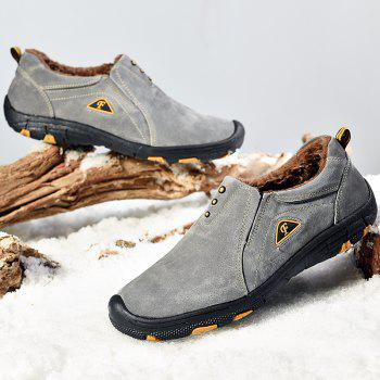 Men Casual Trend for Fashion Outdoor Hiking Flat Loafers Suede Breathable Flat Shoes - GRAY 40