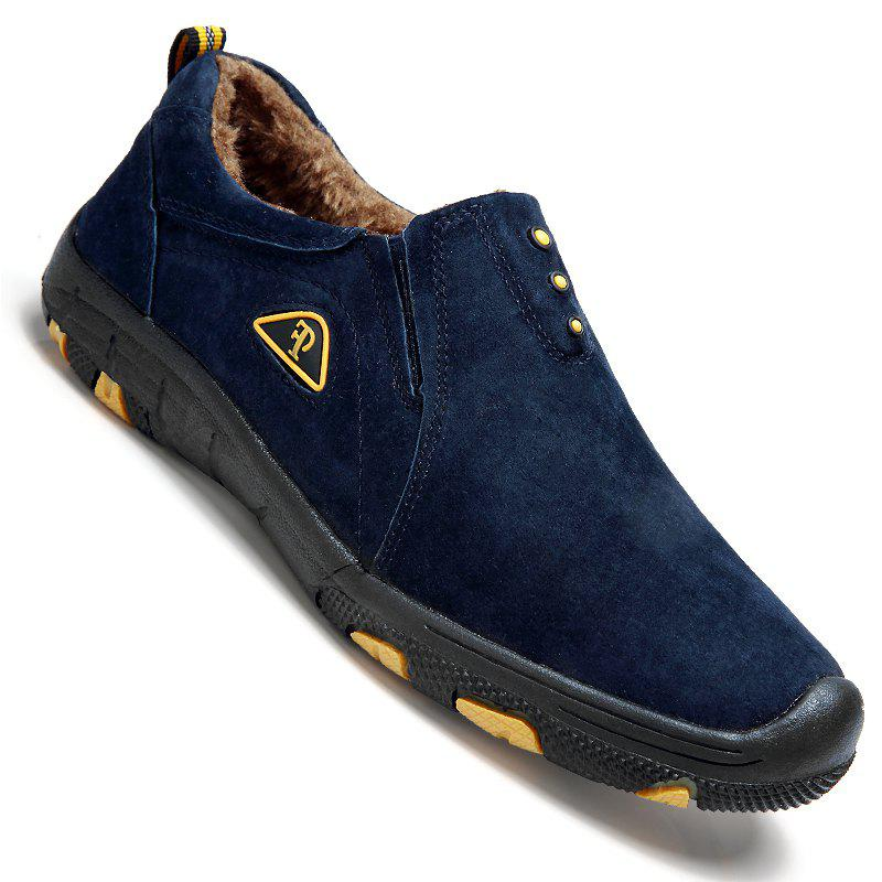 Men Casual Trend for Fashion Outdoor Hiking Flat Loafers Suede Breathable Flat Shoes - BLUE 45