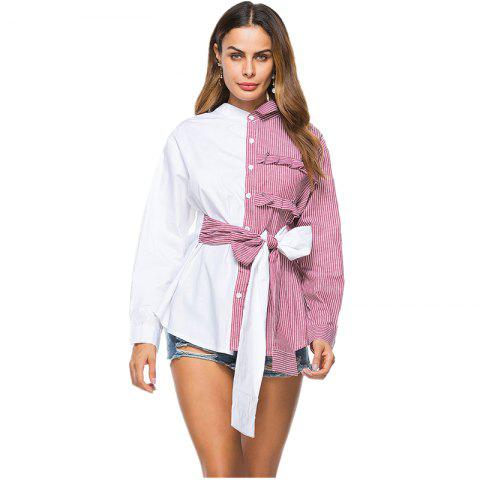 Asymmetrical Bow Tie Personality Shirt - RED L