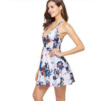 Summer Sexy Deep Neck Halter Halter Print Floral Dress - WHITE M