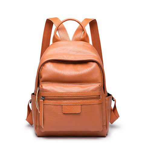 Ladies Casual College Style Chain Backpack - BROWN