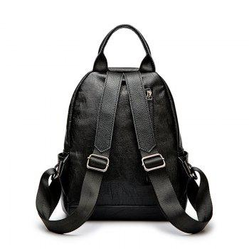 Ladies Casual College Style Chain Backpack - BLACK