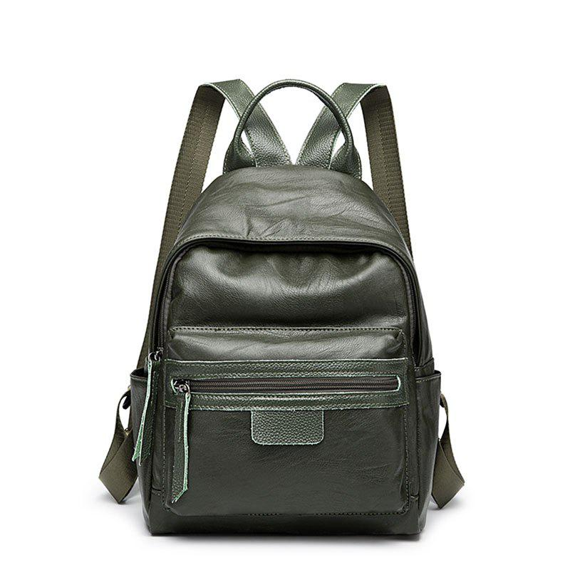 Ladies Casual College Style Chain Backpack - DARK GREEN