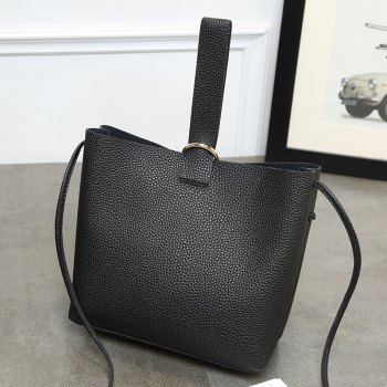 Ladies Casual Simple Bucket Mini Crossbody Bag - BLACK
