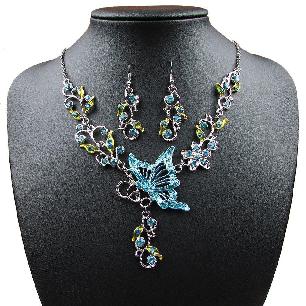 Vintage Diamond Flower with Butterfly Pendants Necklace Earrings Collar Jewelry Gifts for Women