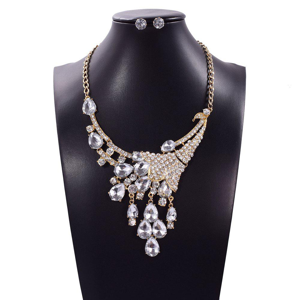 Luxury Shining Diamond Peacock Pendants Necklace Fashion Choker Collar Jewelry Set Gifts for Women trendy fashion jewelry multi tribal cut out tiered necklace set by fashion destination