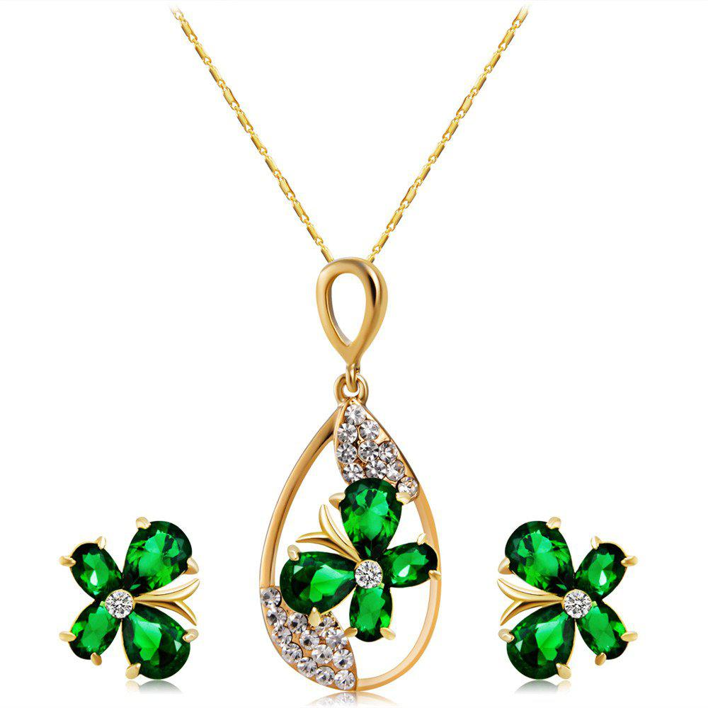 Ensemble collier et boucles d'oreilles Clover Green Crystal Zircon - Or