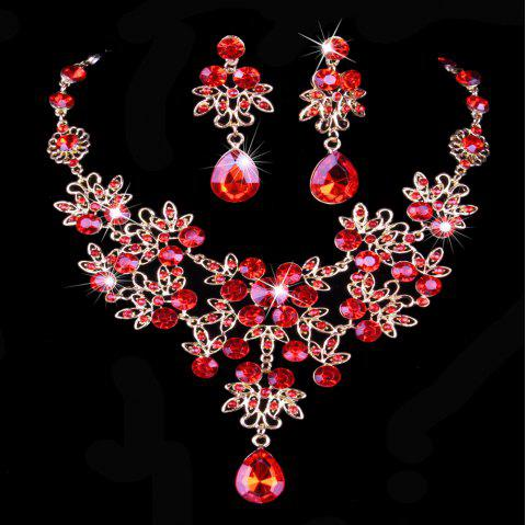 |The bride necklace  The bride of jewelry  Bridal necklace earrings suit  Wedding jewelry  Vintage Wedding Jewelry - RED