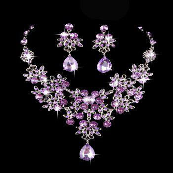 |The bride necklace  The bride of jewelry  Bridal necklace earrings suit  Wedding jewelry  Vintage Wedding Jewelry - PURPLE PURPLE