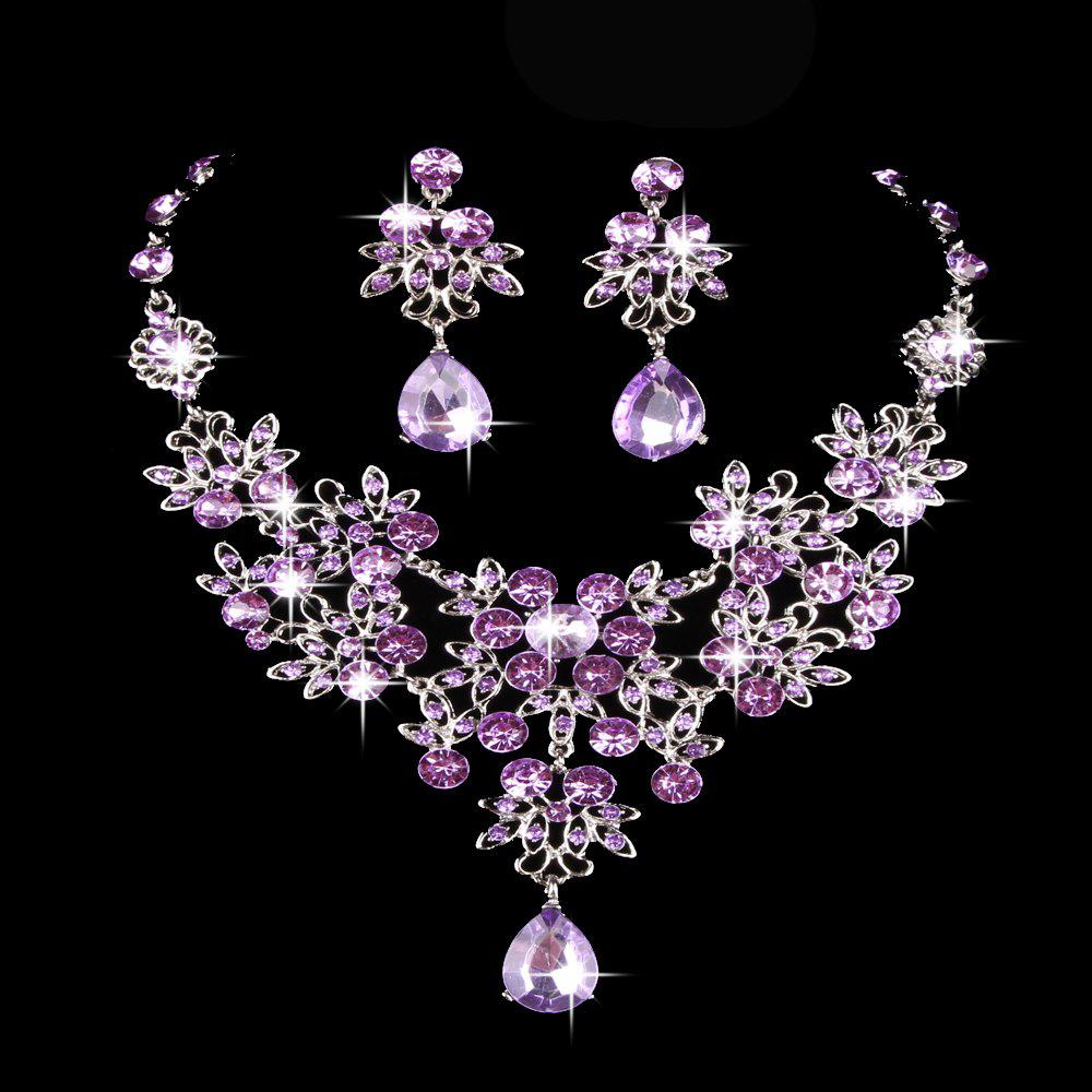|The bride necklace  The bride of jewelry  Bridal necklace earrings suit  Wedding jewelry  Vintage Wedding Jewelry - PURPLE