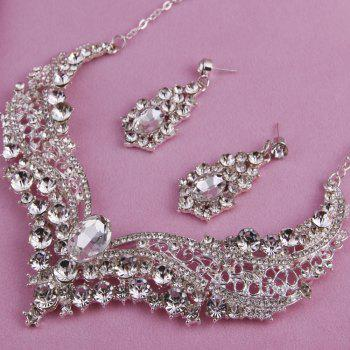 The bride of jewelryJewelry suit Crystal necklace Diamond necklace Necklace earrings suit - WHITE