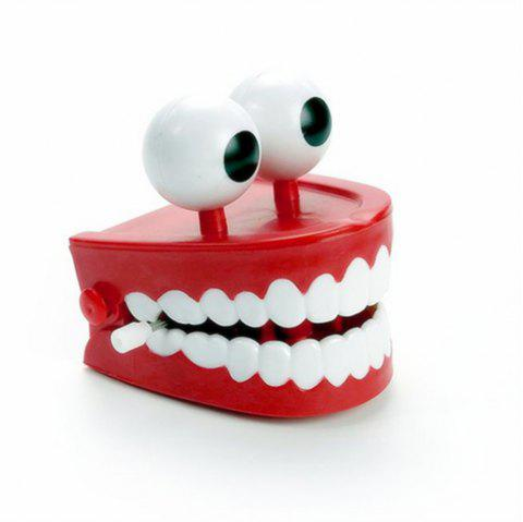 Funny Big Tooth Clockwork Toy Cute Flashing Teeth Bite Finger Novelty Jokes Toys - RED