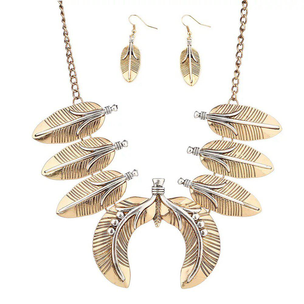 Vintage Punk Leaves Metal State Necklace for Women Bohemian Style Hyperbole Gold Silver Necklace Earring Set - GOLDEN