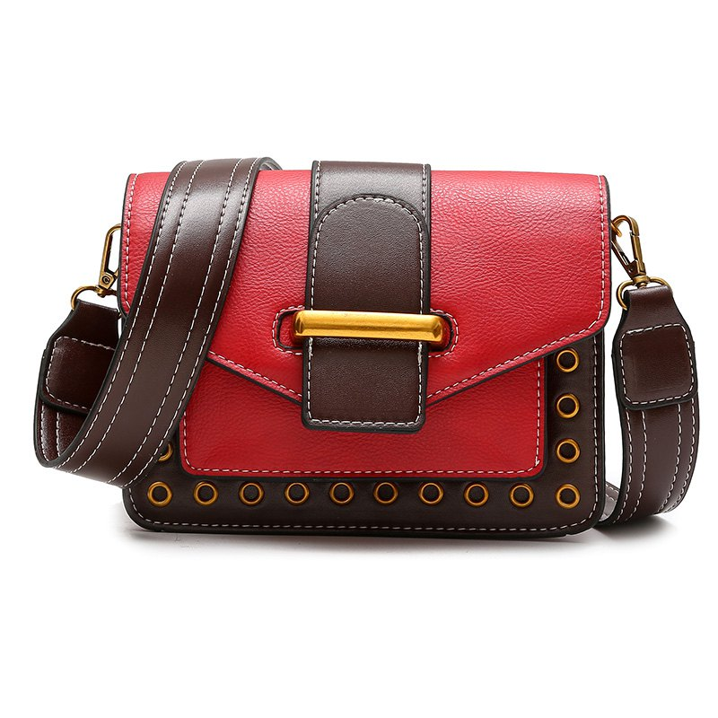 Rivet Small Bag Shoulder Strap Shoulder Bag Fashion Bag Hit Small Color - RED