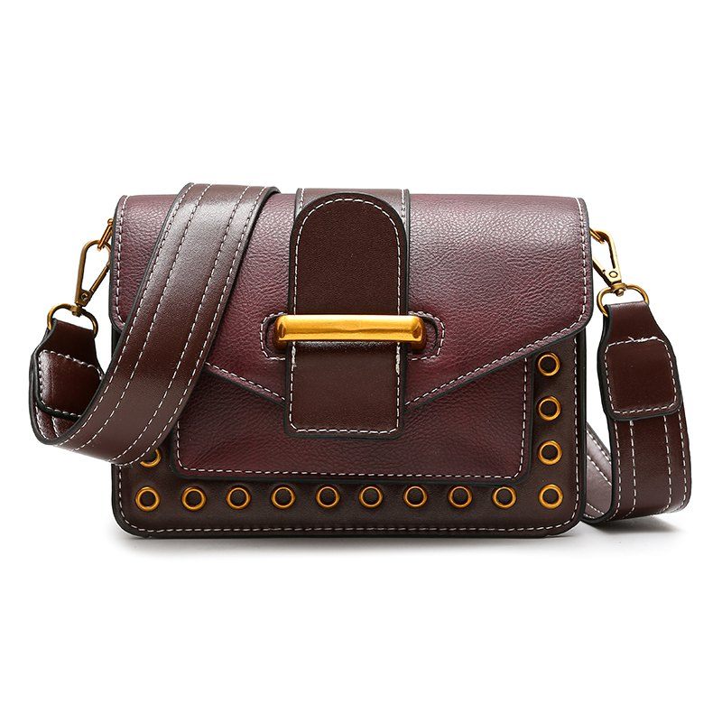 Rivet Small Bag Shoulder Strap Shoulder Bag Fashion Bag Hit Small Color - BURGUNDY