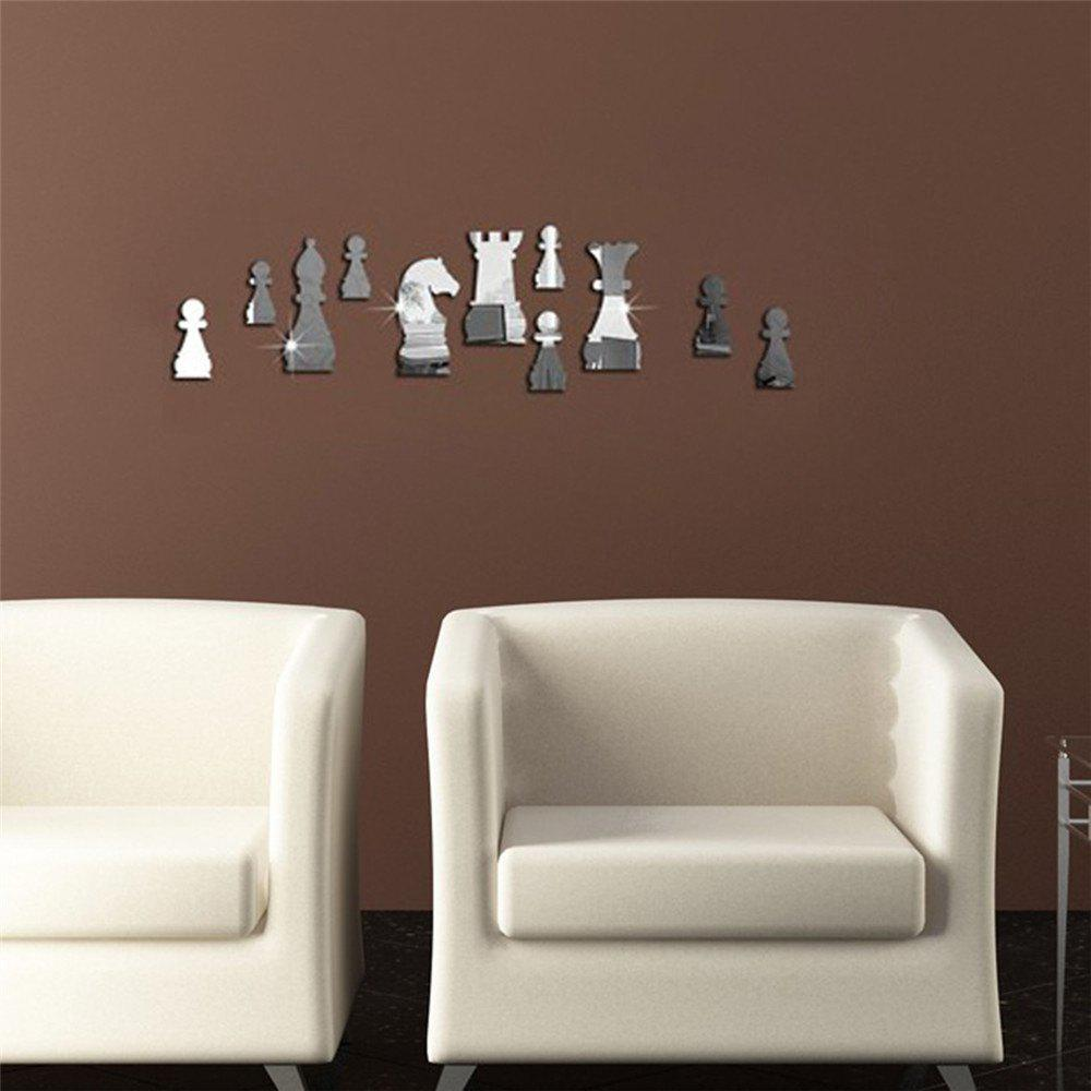 2018 creative diy chess design amovible miroir wall for Stickers miroir
