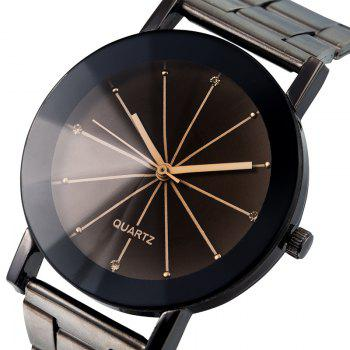 REEBONZ Fashion Sun Ray Lovers Gun Black Quartz Watch - BLACK SIZE L
