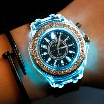 Geneva Led Light Flash Luminous Watch Personality Trends Students Lovers WristWatch - BLACK BLACK