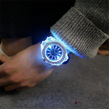 Geneva Led Light Flash Luminous Watch Personality Trends Students Lovers WristWatch - BLACK