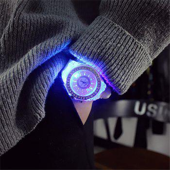 Geneva Led Light Flash Luminous Watch Personality Trends Students Lovers WristWatch -  WHITE