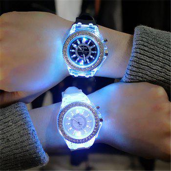 Geneva Led Light Flash Luminous Watch Personality Trends Students Lovers WristWatch - WHITE WHITE