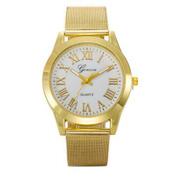 Geneva Fashion Men Golden Stainless Steel Rome Number Watch - WHITE WHITE